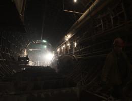 Строительство подземного тоннеля станции метро Геологическая 3